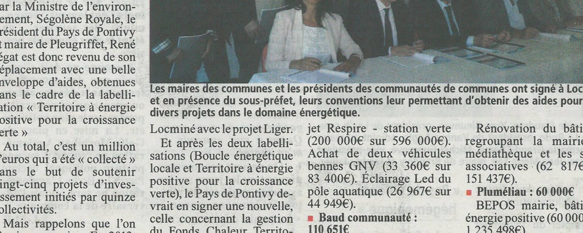 Article de presse La Gazette du Centre Morbihan